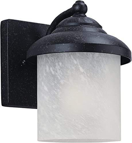 Sea Gull Lighting 84048-185 Yorktown One-Light Outdoor Wall Lantern with Swirled Marbleize Glass Diffuser, Forged Iron Finish