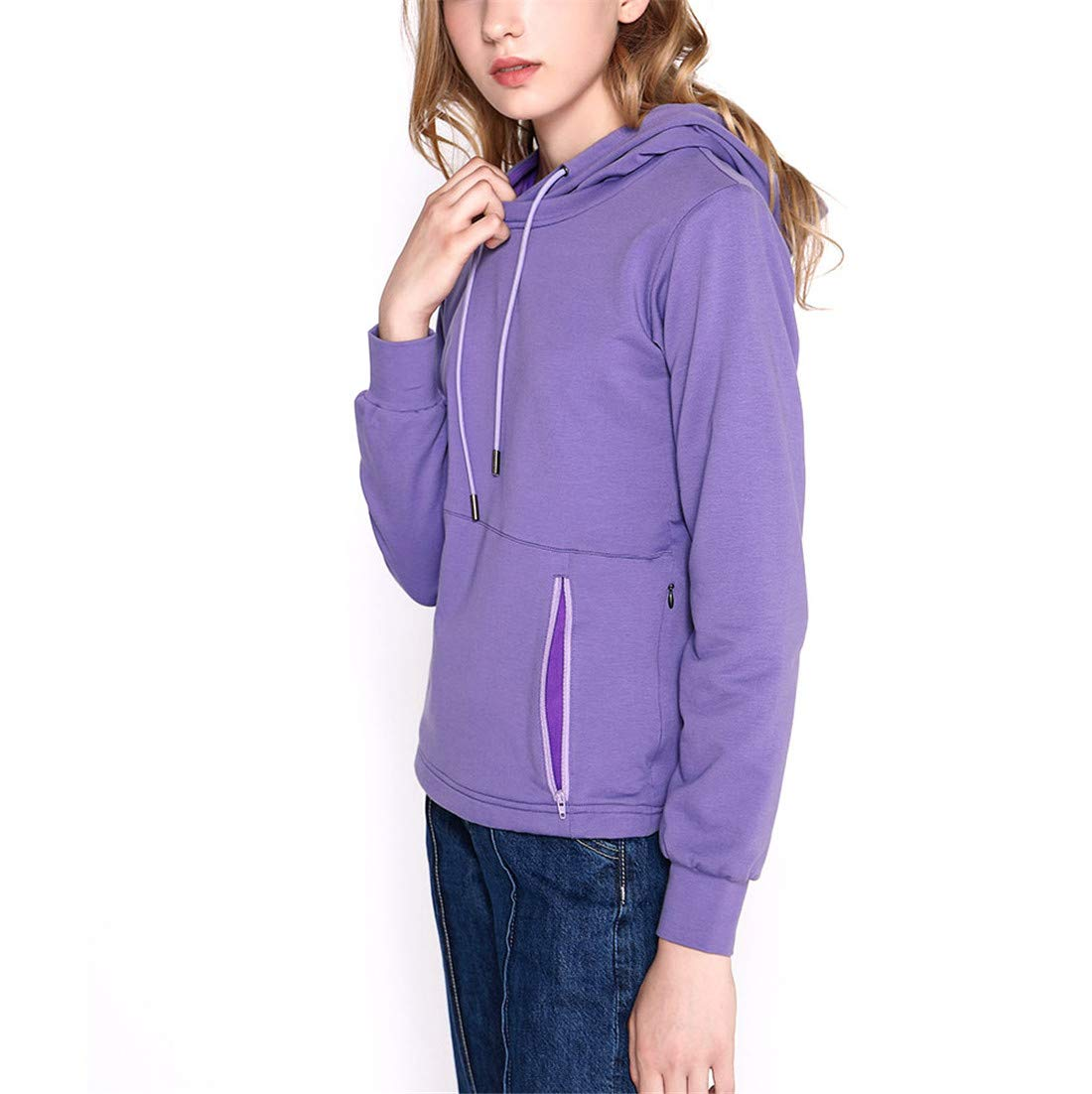 Purple Electric Heated Jacket Hooded Cotton Coat USB Heating Clothing Washable Winter Warm for Unisex Outdoor Camping Hiking