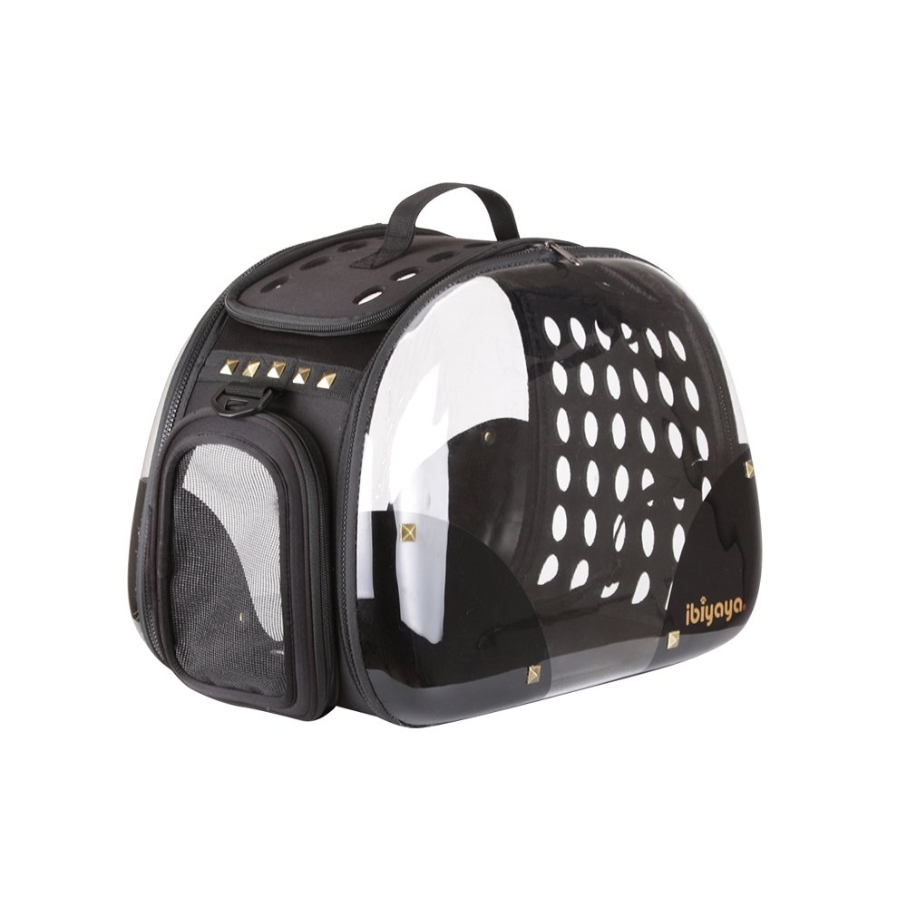 ibiyaya Top Loaded Pet Carrier for Cats and Dogs, collapsible made from suitcase material a great alternative to pet kennel and dog carrier purse (Black Rocker)