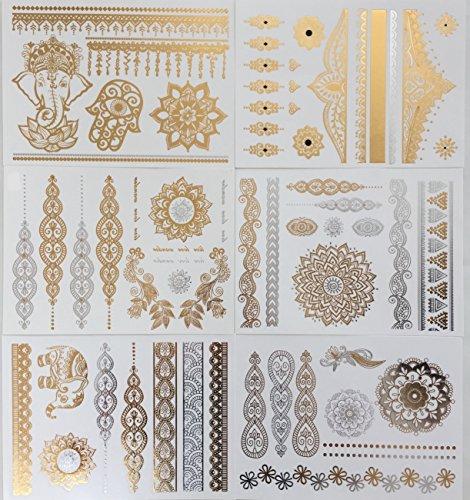 Original Temporary Henna Tattoos - 77+ Wrist and Arm Bands, Bracelets, Elephants, Flowers, Rose, Mehndi, Mandala, Metallic Boho Designs, Fake Shimmer Tats, Gold and Silver Shiny Jewelry (California Gold Tattoo)