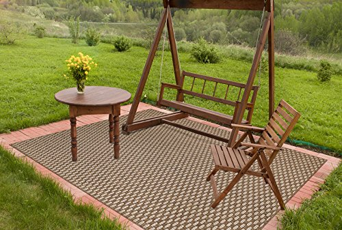 Brown Jordan Platinum Label Barnwell Collection Modern Square Outdoor Patio Rug, 9x9, Golden Brown by Gertmenian