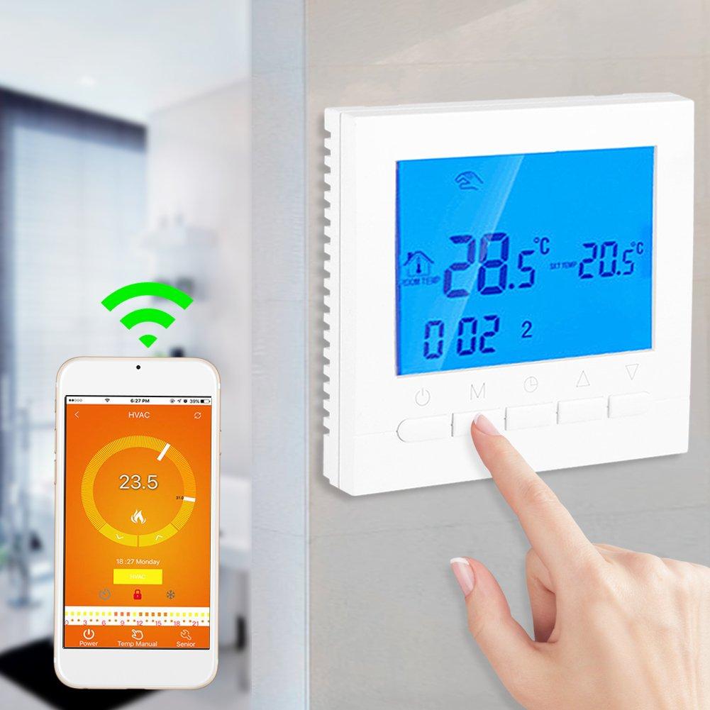 Termostato Inteligente Ambiente Suelo Termostato Programable Digital Gran Pantalla LCD WIFI Mando a Distancia Controlador Temperatura Termostato Retroiluminaci/ón con Tornillo Accesorio