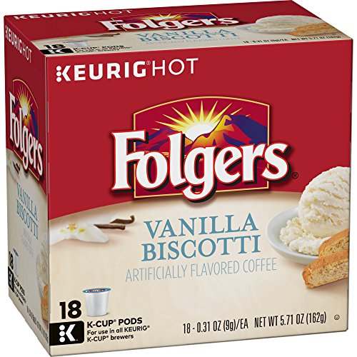 Folgers Vanilla Biscotti Flavored Coffee, K Cup Pods for Keurig K Cup Brewers, 18-Count