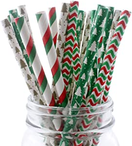 Ipalmay Disposable Straws Drinking Straw, Biodegradable Paper Straws, 7.75 Inches, Red and Green, Pack of 100