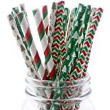 Ipalmay Christmas Drinking Straw, Biodegradable Paper Straws, 7.75 Inches, Red and Green, Pack of 100