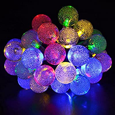 Solar String Lights 20ft 30 Led Globe Crystal Waterproof Multi-mode Bright Bubble Ambiance Lights Decorative for Outdoor Garden Patio Bistro Christmas Party Wedding Holiday