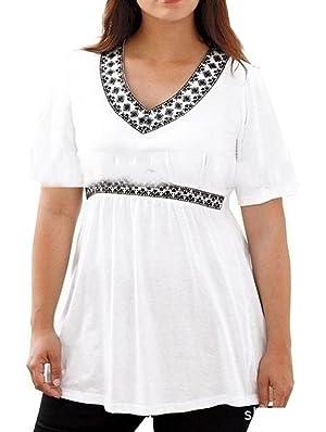 Jaycargogo Women's V-Neck Waist Plus Size Shorts Sleeve Blouse T-Shirts White 4XL