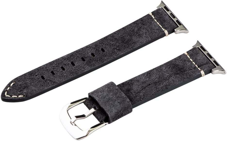Clockwork Synergy - Dapper Collection Leather Watch Bands for Apple (42mm Suede Midnight Blue Bands/Steel Buckle)