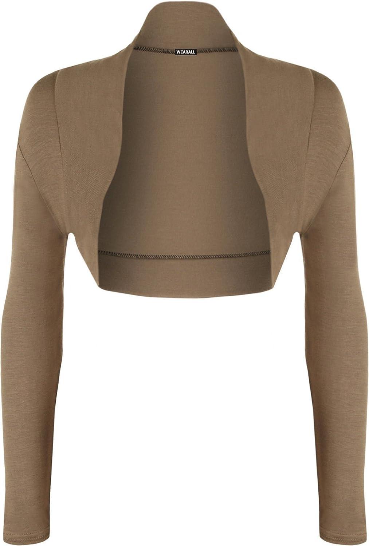 Red Olives/® Womens Plain Long Sleeve Bolero Shrug Crop Top Ladies Cropped Cardigan Tops UK 8-14