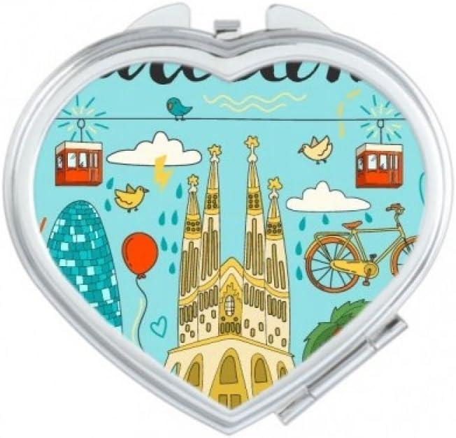 Barcelona España sagrada familia corazón compacto Maquillaje espejo de bolsillo portátil cute pequeña mano espejos regalo: Amazon.es: Hogar