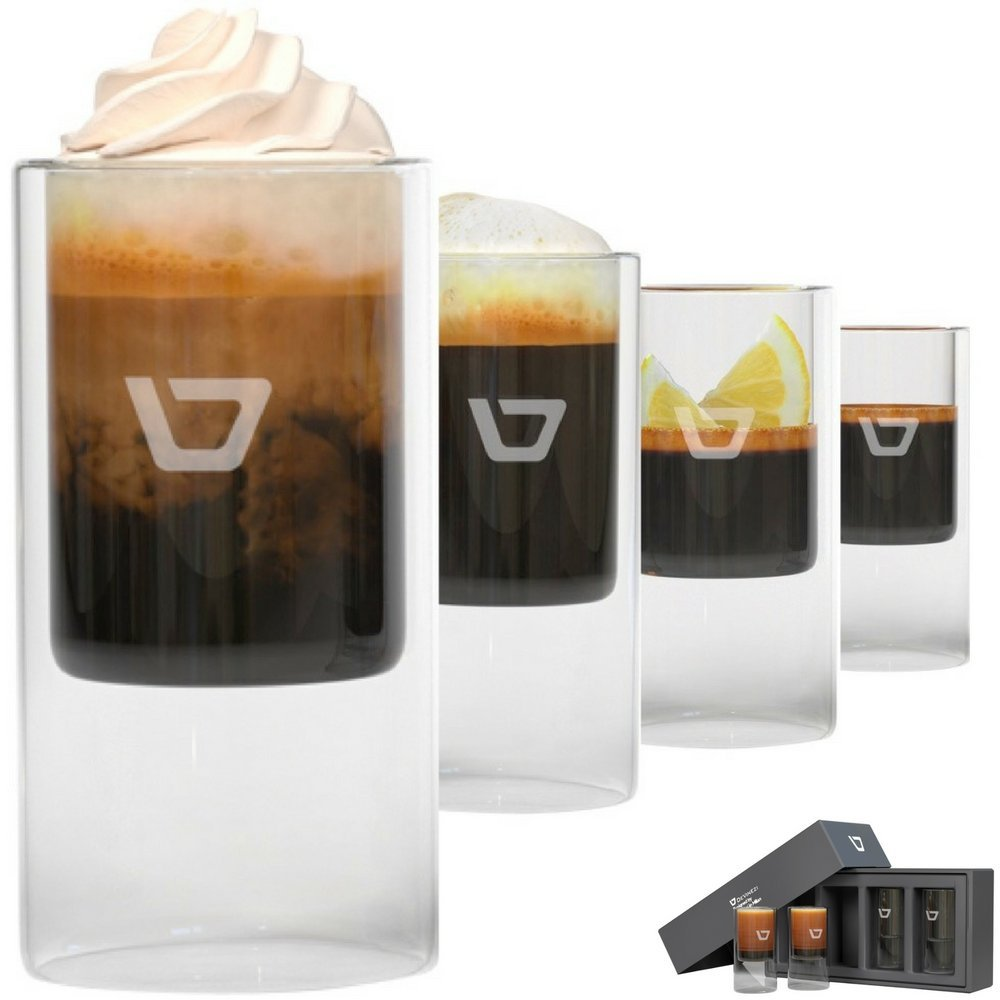 Coffee Shot Glasses, Upscale, Double-walled 2.5ounce, Set of Four (4) 75ml Insulated Cups for Espresso Drinks. Gift Boxed.