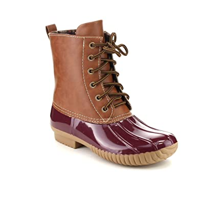 Axny Dylan Women s Lace Up Two Tone Combat Style Calf Rain Duck Boots   B011I96BI6