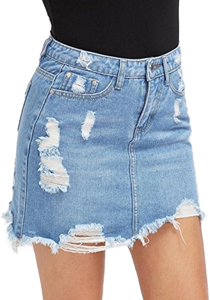 Damen Denim Röcke Mode Hoch Taillierte A Linie Zerrissen Minirock Sommer Casual Bleistiftröcke Streetwear Plus Größen