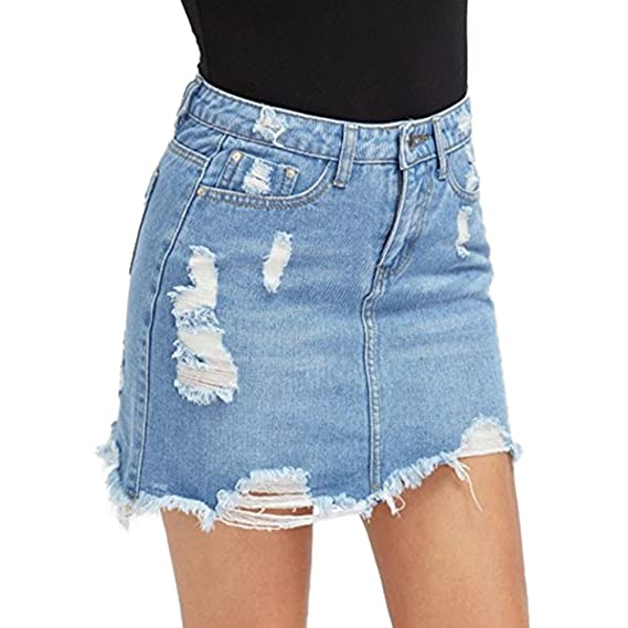 online store ad153 0763f Yying Donna Gonne di Jeans A Matita Denim con Gonna di Jeans Strappati da  Donna