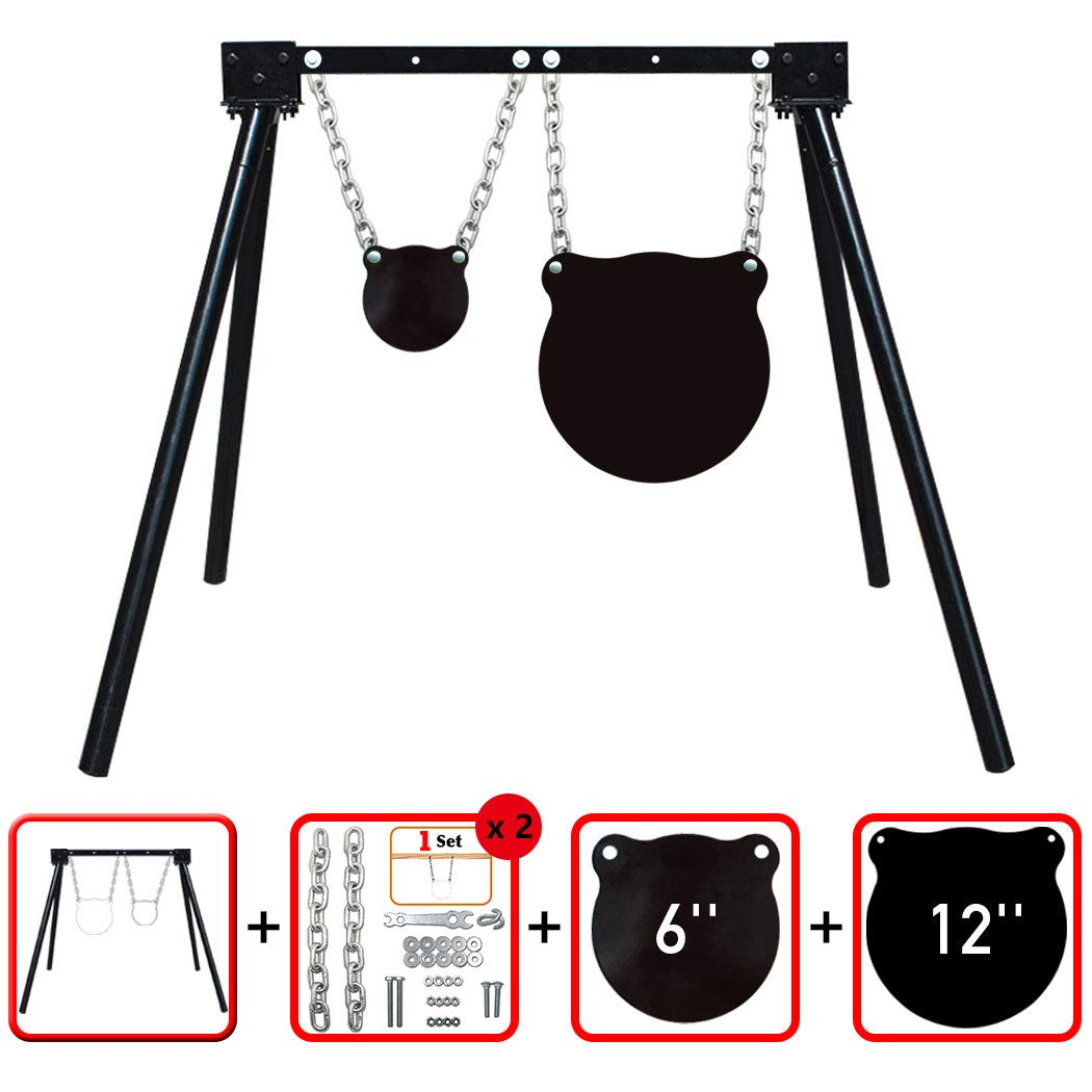 """Highwild AR500 Steel Shooting Target System (1 Stand, 2 Chain Sets & 6""""+12"""" Gongs)"""