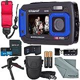 Polaroid iE090 Dual Screen Waterproof Digital Camera (Blue) Deluxe Bundle with 32GB+Floating Strap+Xpix Tripod+Cases+SD Reader+Fibertique Cloth & More