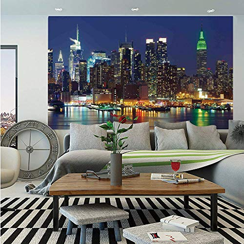 - New York Removable Wall Mural,NYC Midtown Skyline in Evening Skyscrapers Amazing Metropolis City States Photo,Self-Adhesive Large Wallpaper for Home Decor 66x96 inches,Royal Blue
