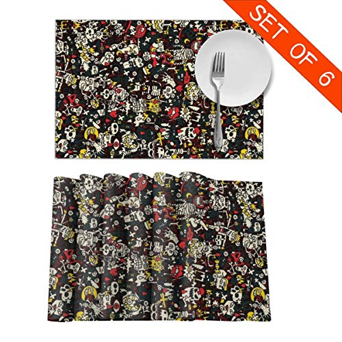 (QIDELONG Big Halloween Collection Small Hand Drawn Skull Pumpkin Placemat Non-Slip Insulation Table Mats Heat Resistant Place Mats for Kitchen Decoration 12x18 Set of 6)