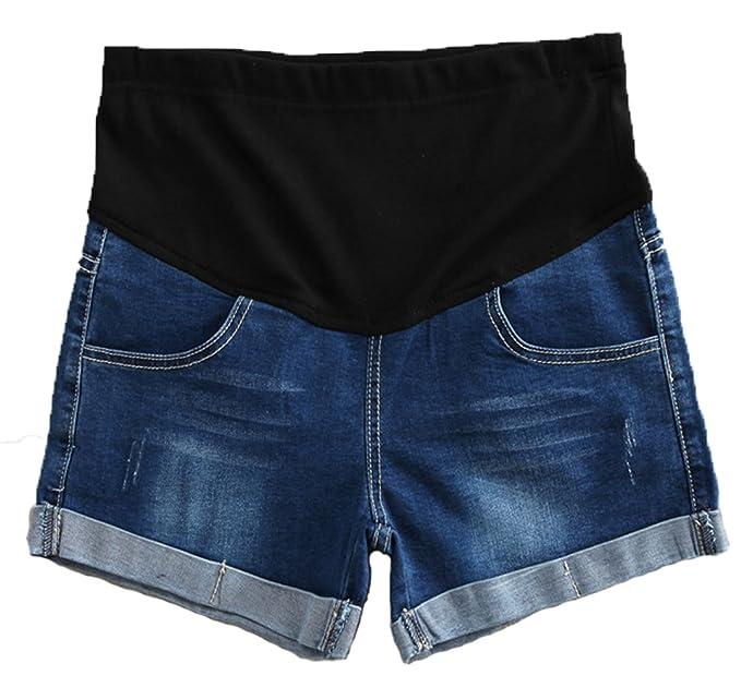 85e612cfa51 MLDYGYC Pregnant Women Summer Adjustable Elastic Care Belly Maternity Denim  Shorts at Amazon Women s Clothing store