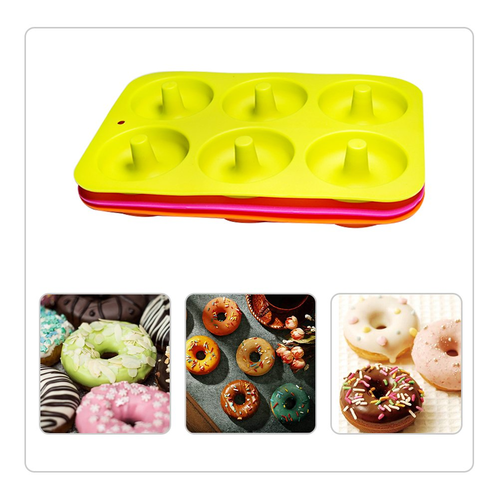 Gr/ün hblife 3 Pack Donutform Besondere Backformen Silikon Donut Formen Antihaft-Safe Backblech Pan Hitzebest/ändigkeit f/ür Kuchen Keks Bagels Muffins-Orange Rose Red