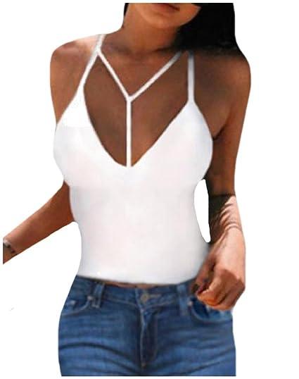 d196e995ece0e MLG Women s Deep V Neck Crop Top Solid Strappy Tank Top Vest White L ...