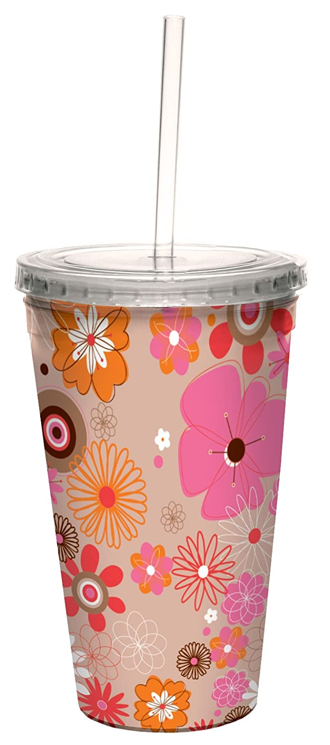Tree-Free Greetings cc33491 Contemporary Pink /& Orange Floral by Carolyn Gavin Artful Traveler Double-Walled Cool Cup with Reusable Straw 16-Ounce