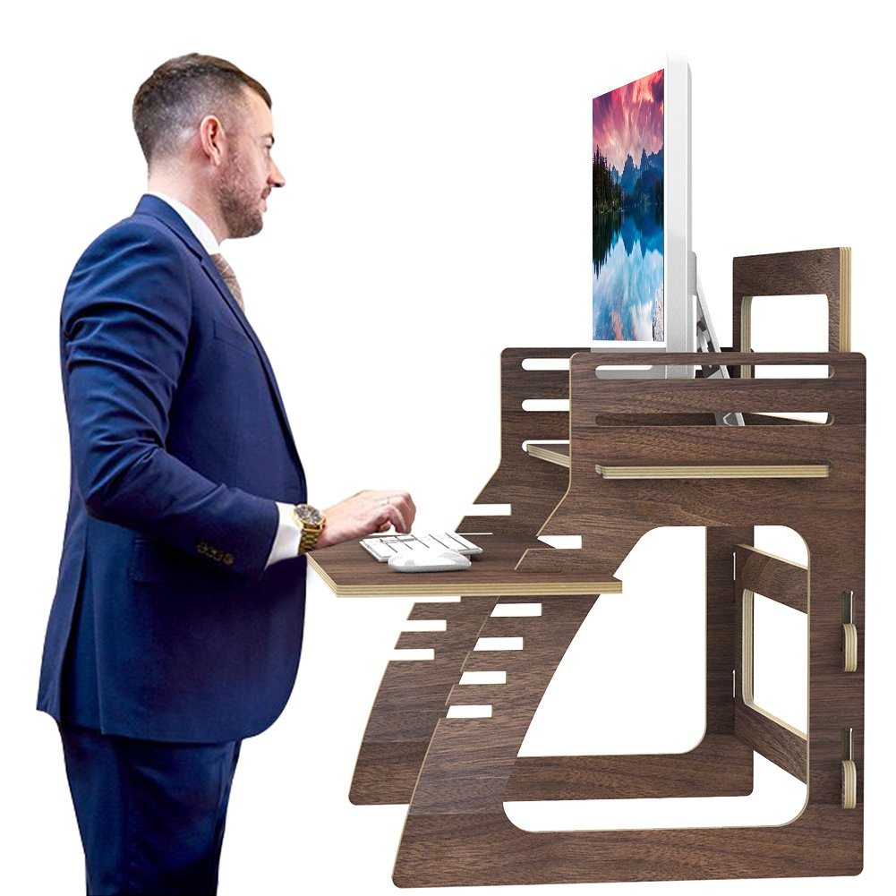 Adjustable Standing Desk, SAMDI Wood Office Height Desk for Computer, iMac, Printer, Laptop, Tablet Workstation with Adjustable Keyboard Tray