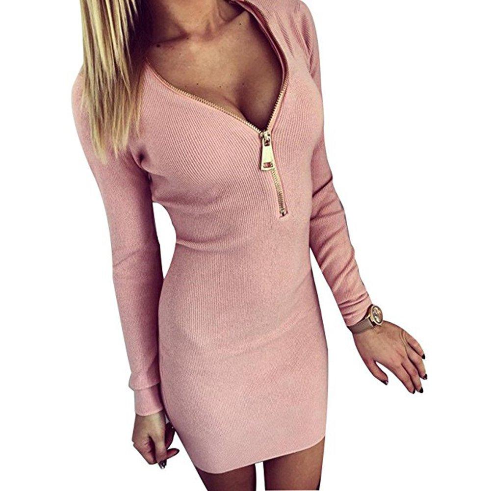 Damenkleider Sexy V-Ausschnitt Minikleid Bodycon Enge Kleider ...