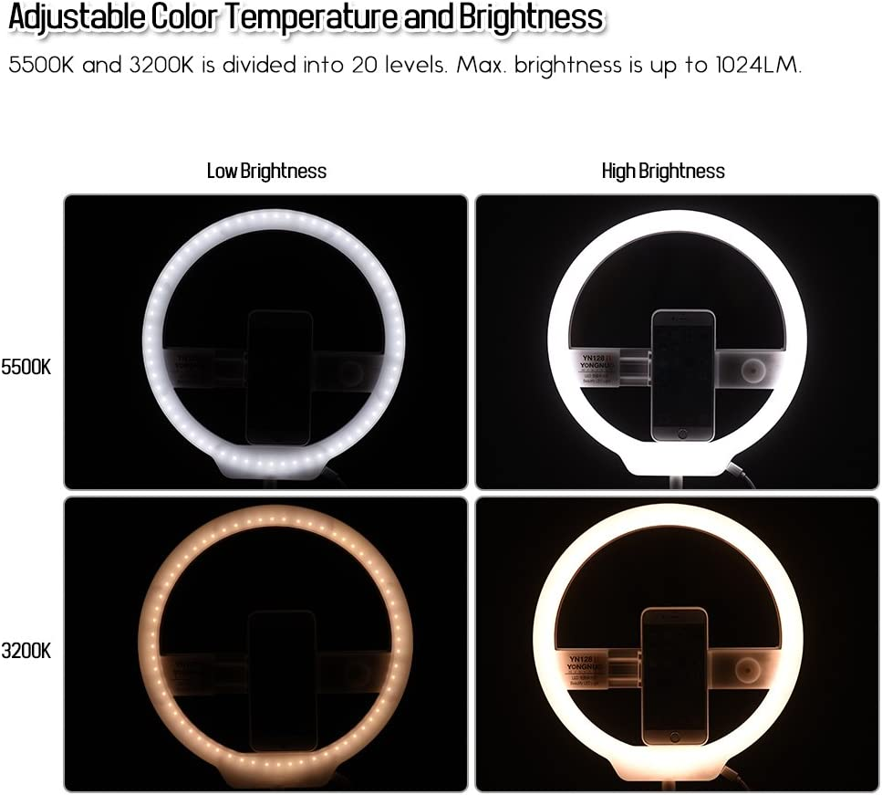 Compatible with iPhone Huawei Samsung Smartphone YONGNUO YN128II Bi-Color Beautify LED Ring Video Light 3200K-5500K Photography Dimmable Ring Lamp CRI95