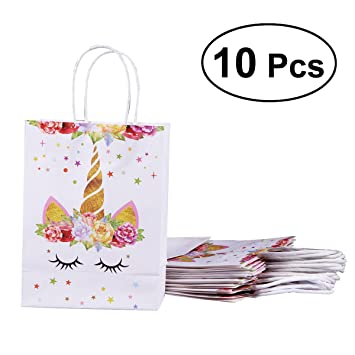 BESTOYARD 10 Unicornios Bolsa de Papel Unicorn Party ...