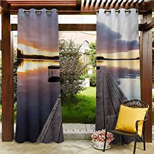 """ScottDecor Landscape Patio Curtains Gazebo Garden Furniture House Serenity Relaxing Themed Port Pier Wooden Rustic Image of Dawn Sunset in Lake Art Multicolor 96"""" W by 96"""" L(K245cm x G245cm)"""