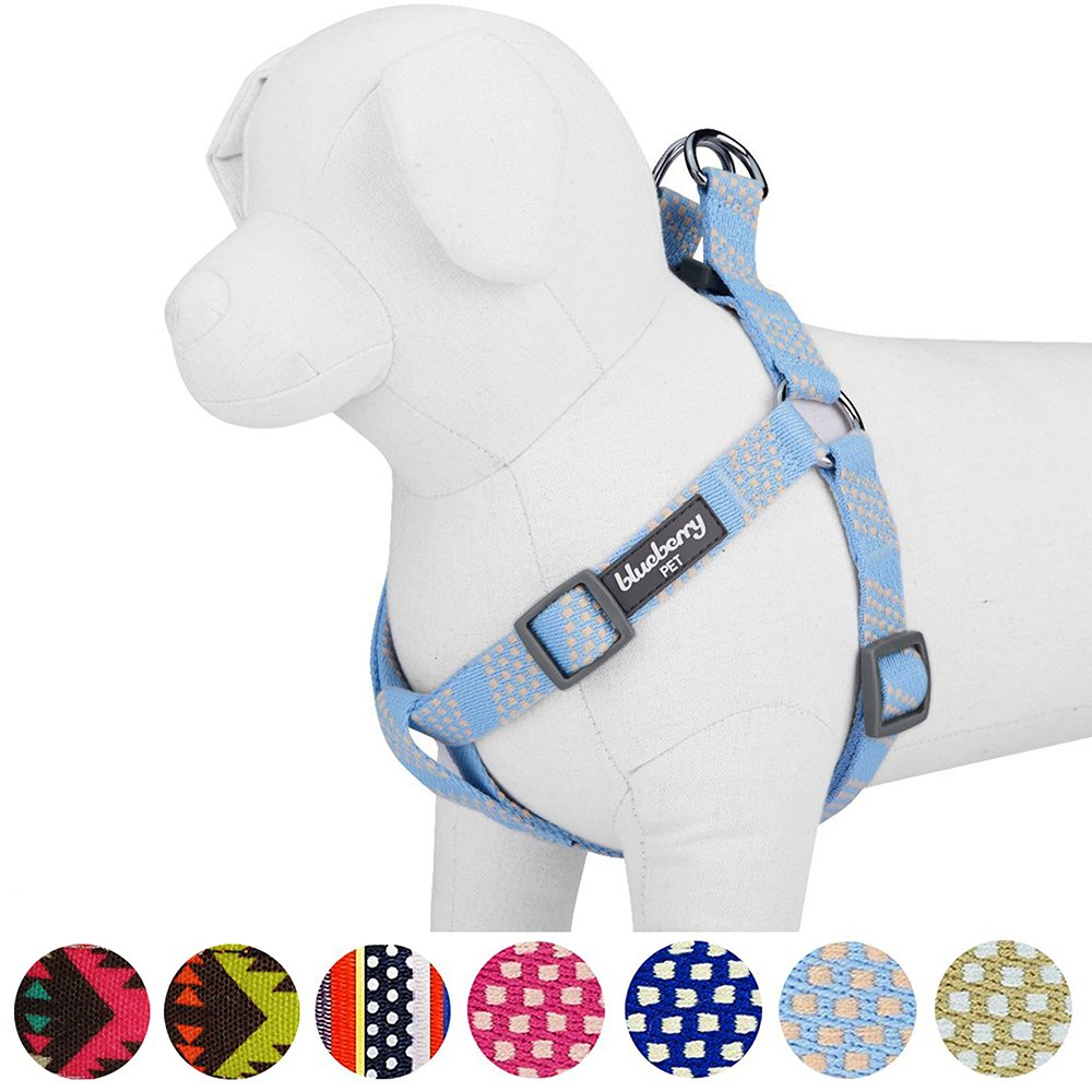 Blueberry Pet 4 Colors Step-in Artisan Crochet Inspired Endless Squares Dog Harness, Chest Girth 26'' - 39'', Sky Blue, Large, Adjustable Harnesses for Dogs