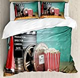 Movie Theater Twin Duvet Cover Sets 4 Piece Bedding Set Bedspread with 2 Pillow Sham, Flat Sheet for Adult/Kids/Teens, Production Theme 3D Film Reels Clapperboard Tickets Popcorn and Megaphone