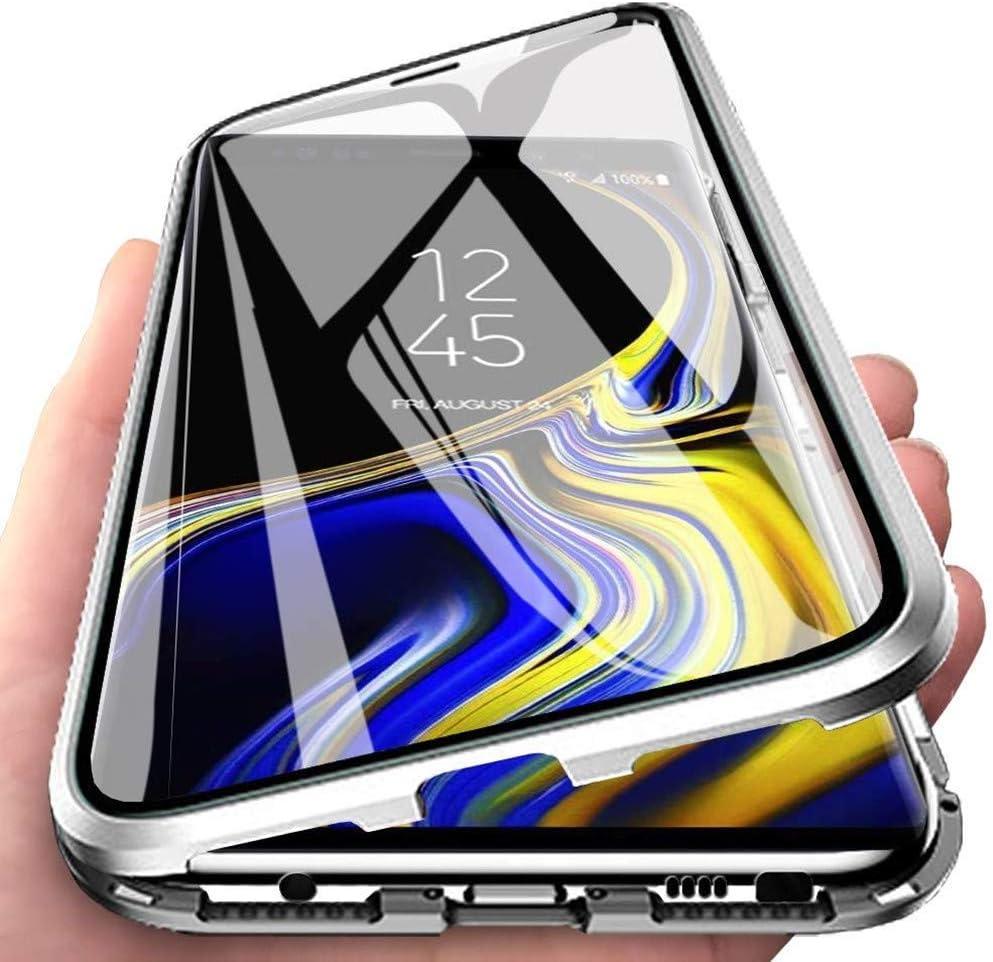 ColiColi f/ür Samsung Galaxy A80 H/ülle Transparent Panzerglas 360 Grad Magnet Handyh/ülle Clear Doppelseitige Geh/ärtetes Glas Schutzh/ülle Vorne Hinten Rundumschutz D/ünn Metall Kratzfest Bumper Silber