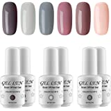 Gellen Gel Nail Polish Set - Nude Gray Series 6 Colors Nail Art Gift Box, Soak Off UV LED Gel Polish Kit 8ml