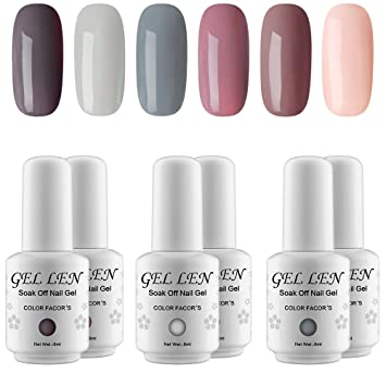 Amazon gellen gel nail polish set nude gray series 6 gellen gel nail polish set nude gray series 6 colors nail art gift box prinsesfo Gallery