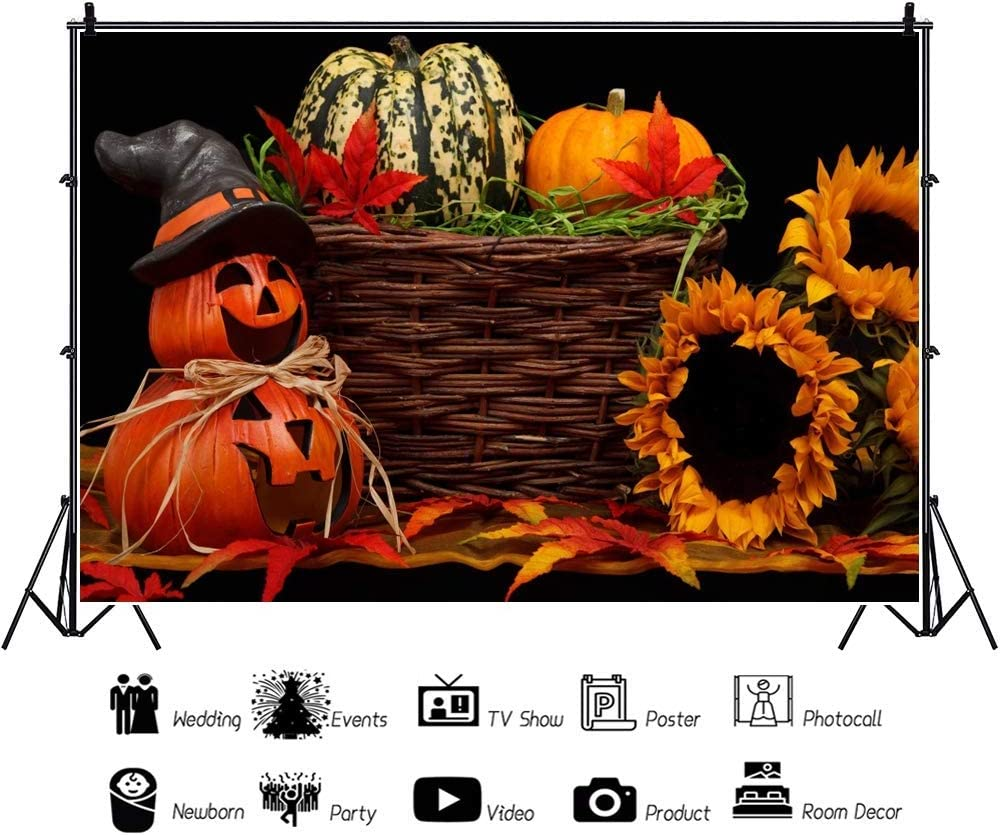 Autumn Harvest Backdrop 8x6ft Thanksgiving Polyester Photography Background Halloween Holiday Grimace Pumpkin Sunflower Maple Leaf Witch Hat Carnival Party Baby Girl Portrait Shoot Decor