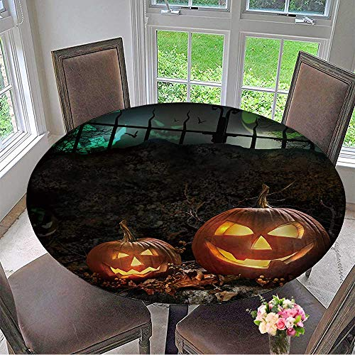 Round Polyester Tablecloth Table Cover Halloween Pumpkins on Rocks in a Forest at Night for Most Home Decor 47.5