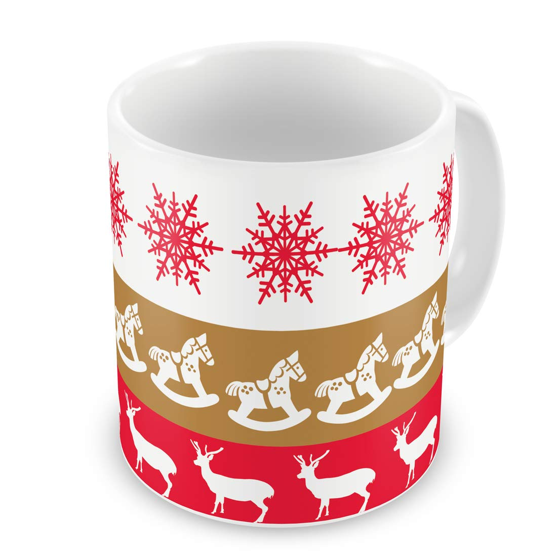 Buy Indigifts Christmas Gifts Nordic Pattern With Reindeers And Snowflakes Printed Multi Coffee Mug 330 Ml Christmas Mugs Xmas Decorations Christmas Decor Xmas Mugs Quirky Mugs Online At Low Prices In