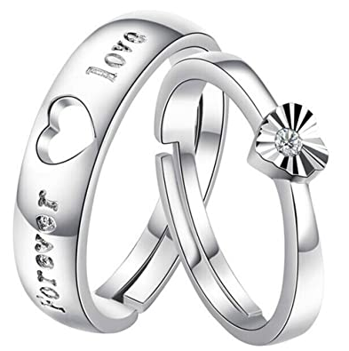 Partnerringe herz  1 Paar Sterling Silber FOREVER LOVE Herz Partnerringe Trauringe ...