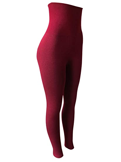 28cd4cc473481 NY GOLDEN FASHION Women High Waist Tummy Compression Control Top Leggings  Micro-Fleece Leggings Shapewear (One Size Fit for S/M/L, Wine Red) at  Amazon ...