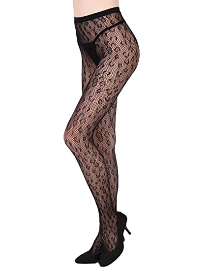 c224c37da9c Fishnet Pantyhose Women s Lace High Waist Tights Stockings Mesh Panty Hose  at Amazon Women s Clothing store