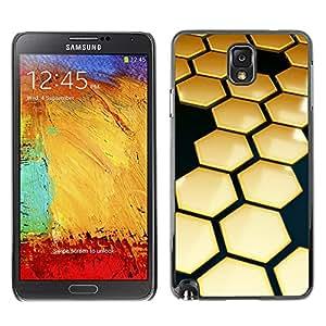 X-ray Impreso colorido protector duro espalda Funda piel de Shell para SAMSUNG Galaxy Note 3 III / N9000 / N9005 - Hive Gold Black 3D Hexagon
