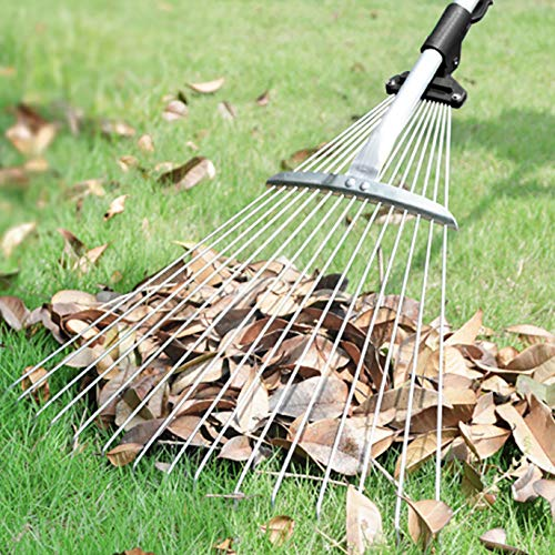 gonicc 63 inch Professional Adjustable Garden Leaf Rake, Expanding Metal Rake - Adjustable Folding Head from 7 Inch to 22 Inch. Collect Leaf Among Delicate Plants,Lawns and Yards. Ideal Camp Rake.