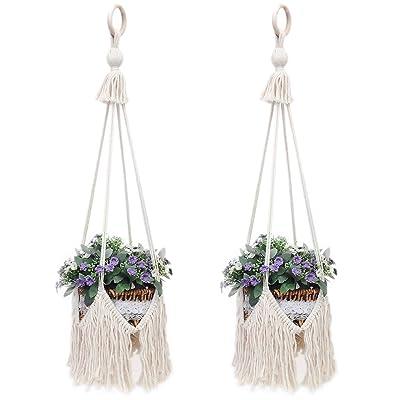 "UL Macrame Hanging Shelf 100% Cotton Rope Handmade Extra Large 12"" Pot, Wall Plant Hanger Planter Rack Flower Pot Holder 31"" Length(2PACK): Garden & Outdoor"