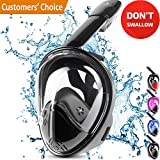 Full Face Snorkel Mask – Underwater Gasmask – Easybreath Snorkeling Mask – Breathe Both Your Nose & Mouth – Eliminates Gagging, Improves Safety & Comfort, and Fits Perfectly – Shatterproof Glass