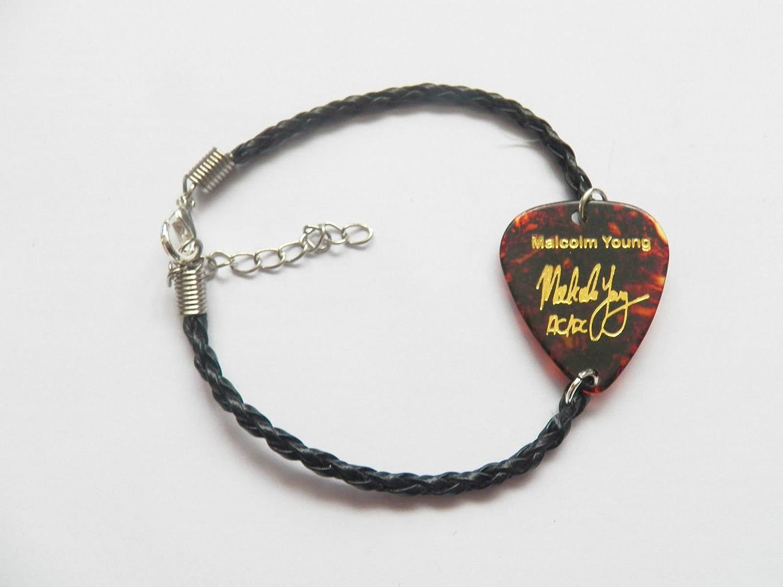 Pulsera con púa de guitarra, Malcolm Young AC/DC de piel trenzada ...