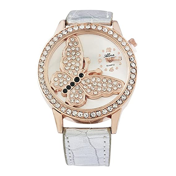 0d6860f3737e11 MJARTORIA Damen Schmetterling Strass Armbanduhr Elegant Lederarmband Mode  Damenuhr Analog Quarz Uhr Silber Farbe