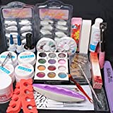 US Seller ~ 24 in 1 Combo Set Professional DIY UV Gel Nail Art Kit Brush Buffer Tool Nail Tips Glue Acrylic Set #63(C)