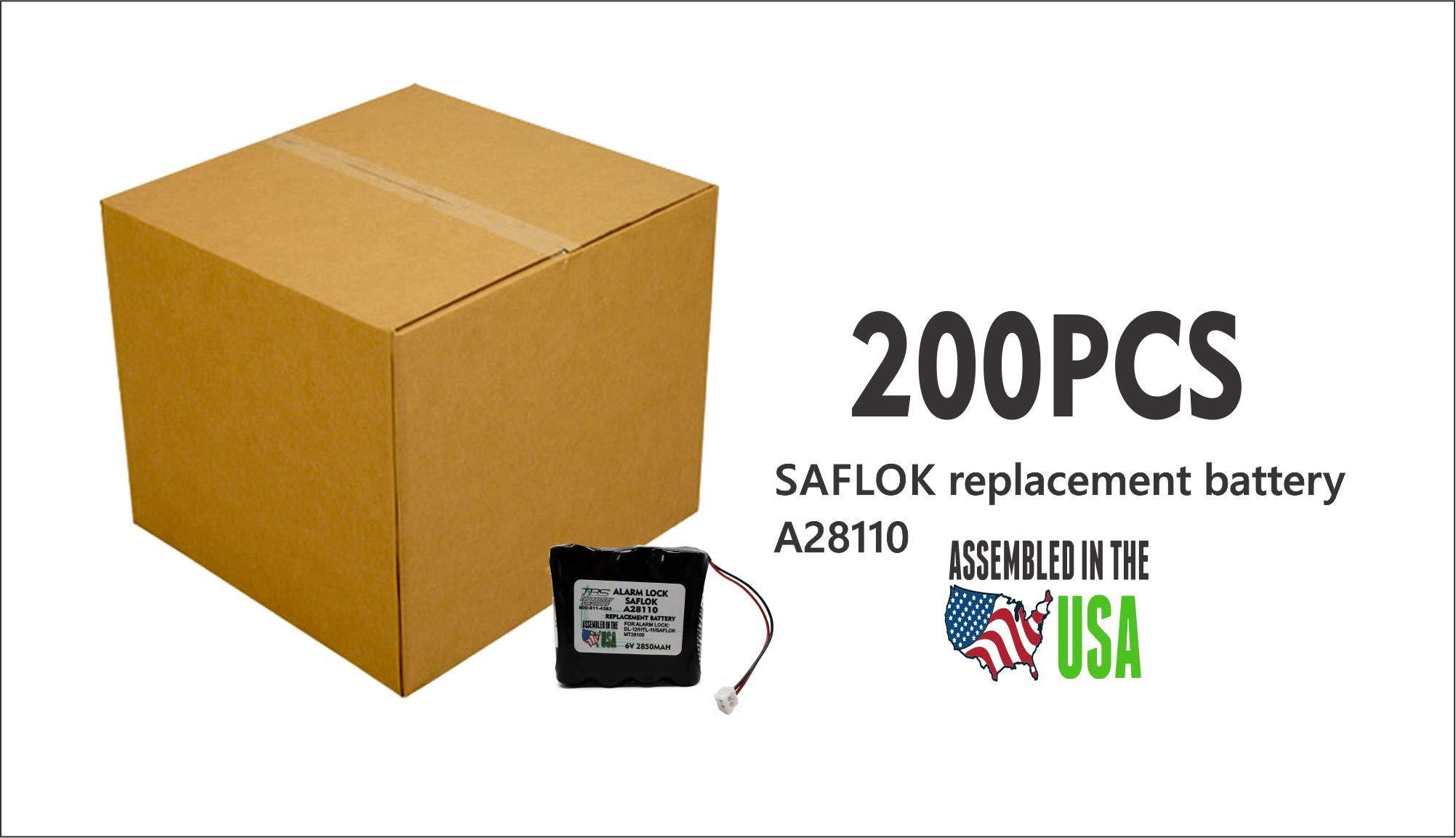 200PCS SAFLOK A28110 6V Hotel Door Lock Battery Fits 884952, A28110, A28100, DL-12/4, HTL-11/13, Intellis, MT